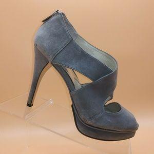 Michael Kors Gray Suede Peep Toe Pump Womens 7.5 M